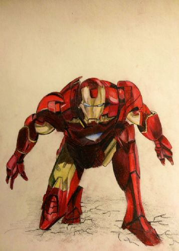 IRON MAN - CROUCH SKETCH canvas print - self adhesive poster - photo print